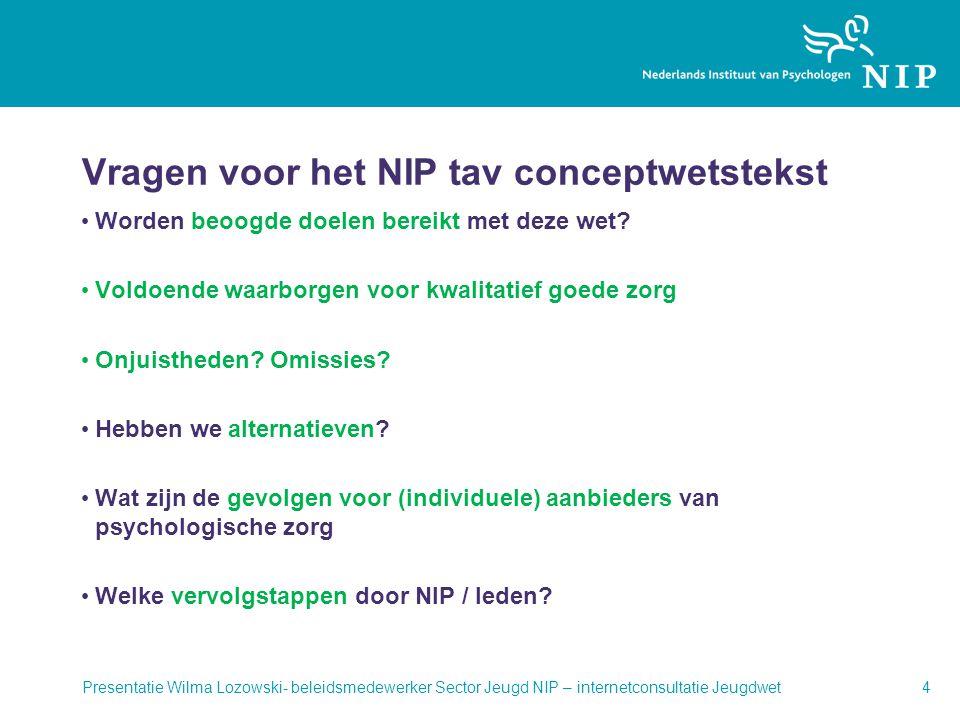 Vragen voor het NIP tav conceptwetstekst