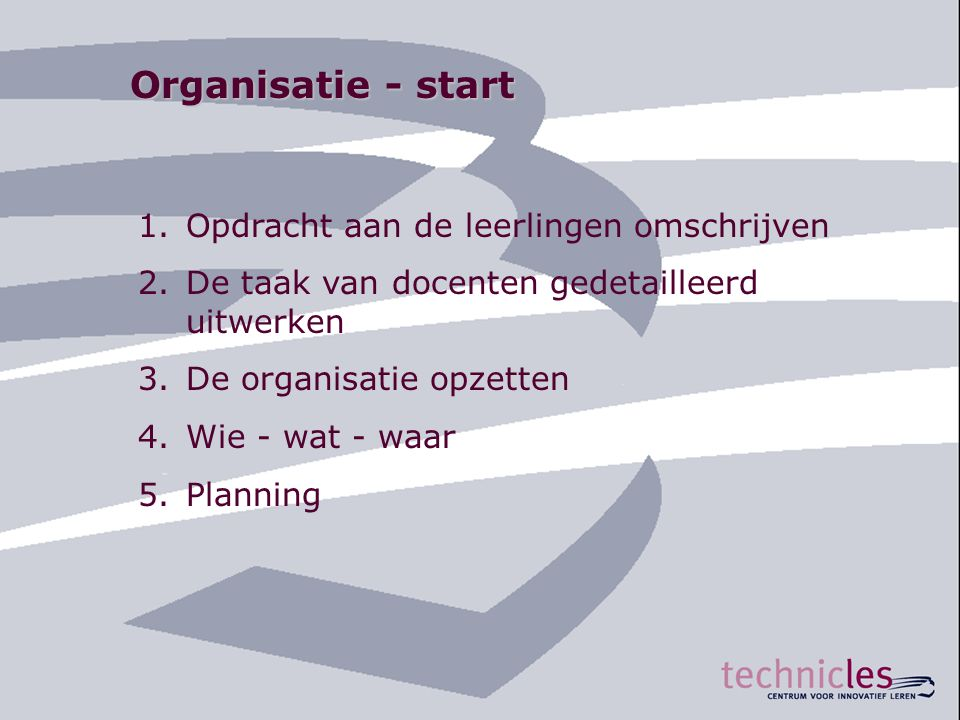 Organisatie - start Opdracht aan de leerlingen omschrijven