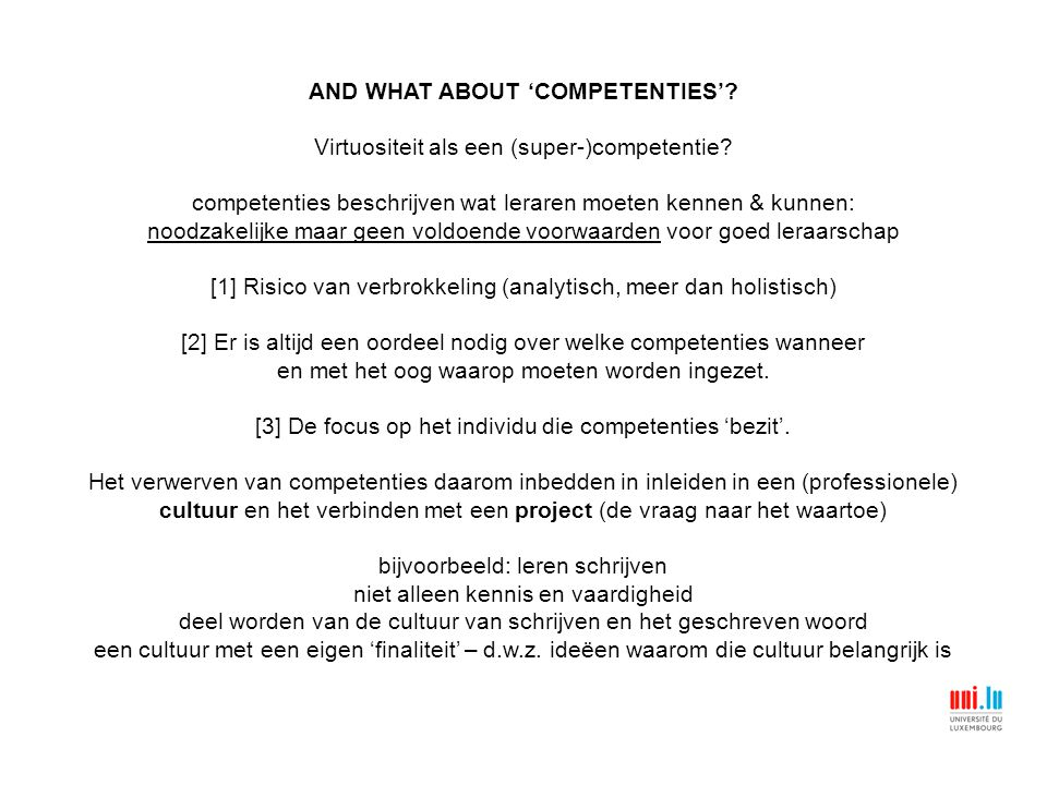 AND WHAT ABOUT 'COMPETENTIES'