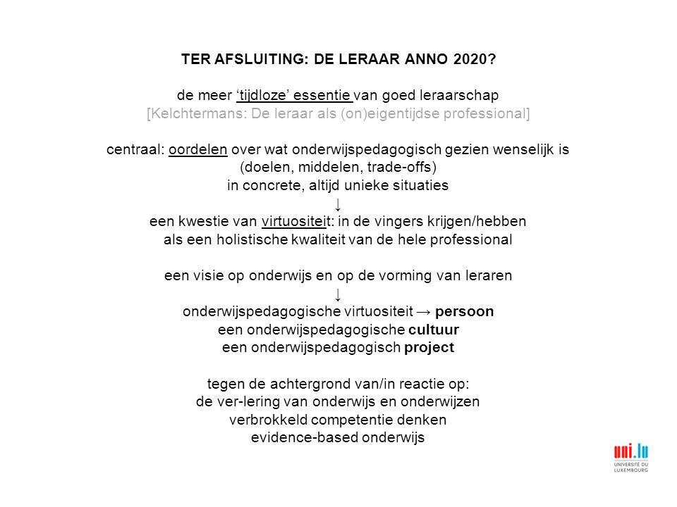 TER AFSLUITING: DE LERAAR ANNO 2020