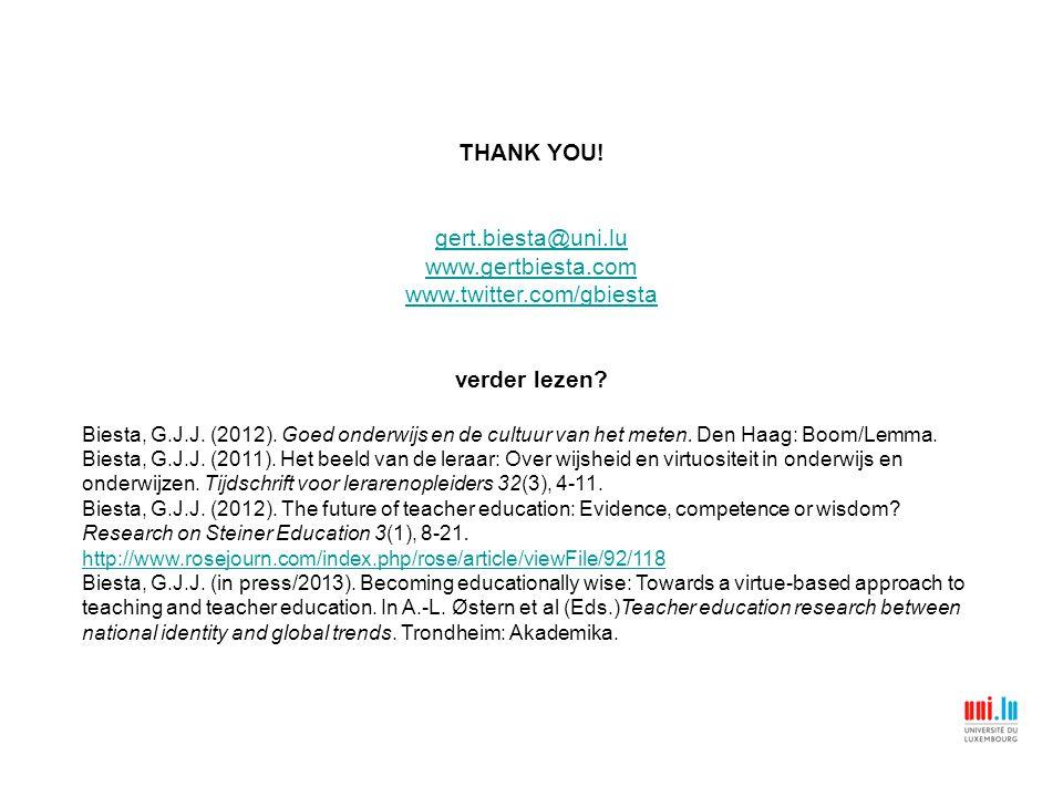 THANK YOU! gert.biesta@uni.lu www.gertbiesta.com