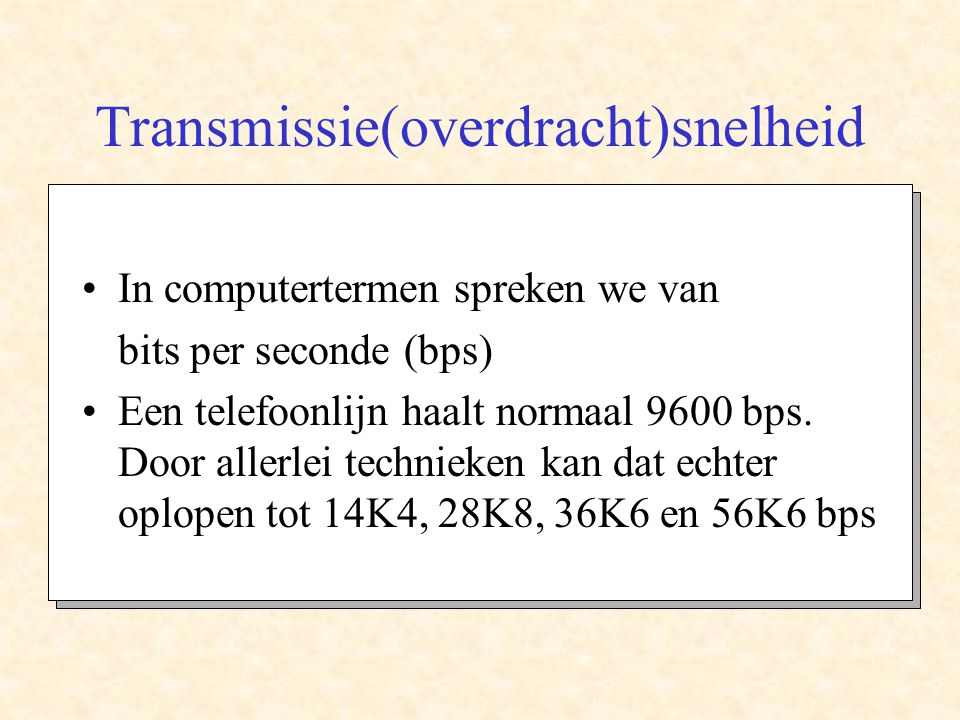 Transmissie(overdracht)snelheid
