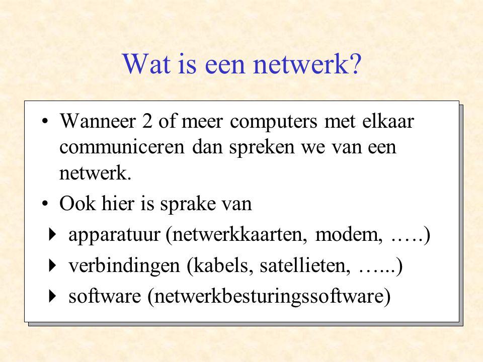 Wat is een netwerk Wanneer 2 of meer computers met elkaar communiceren dan spreken we van een netwerk.