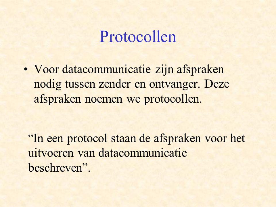 Protocollen Voor datacommunicatie zijn afspraken nodig tussen zender en ontvanger. Deze afspraken noemen we protocollen.