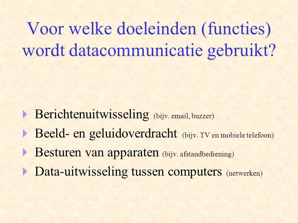 Voor welke doeleinden (functies) wordt datacommunicatie gebruikt