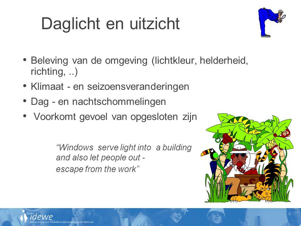 Daglicht en uitzicht Beleving van de omgeving (lichtkleur, helderheid, richting, ..) Klimaat - en seizoensveranderingen.