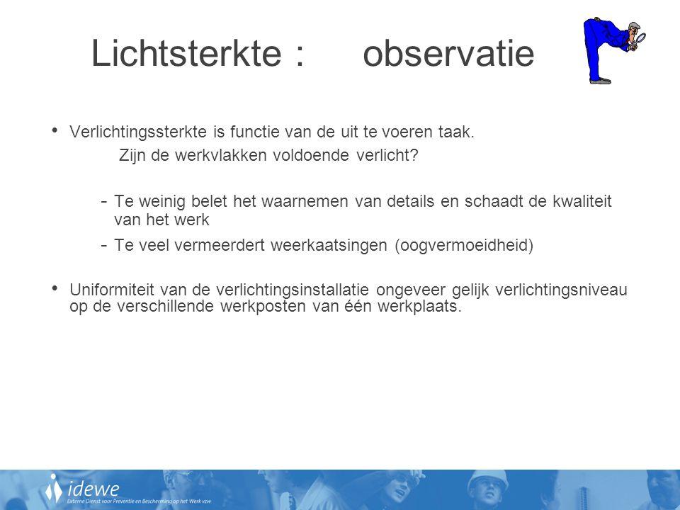 Lichtsterkte : observatie