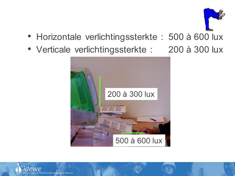 Horizontale verlichtingssterkte : 500 à 600 lux