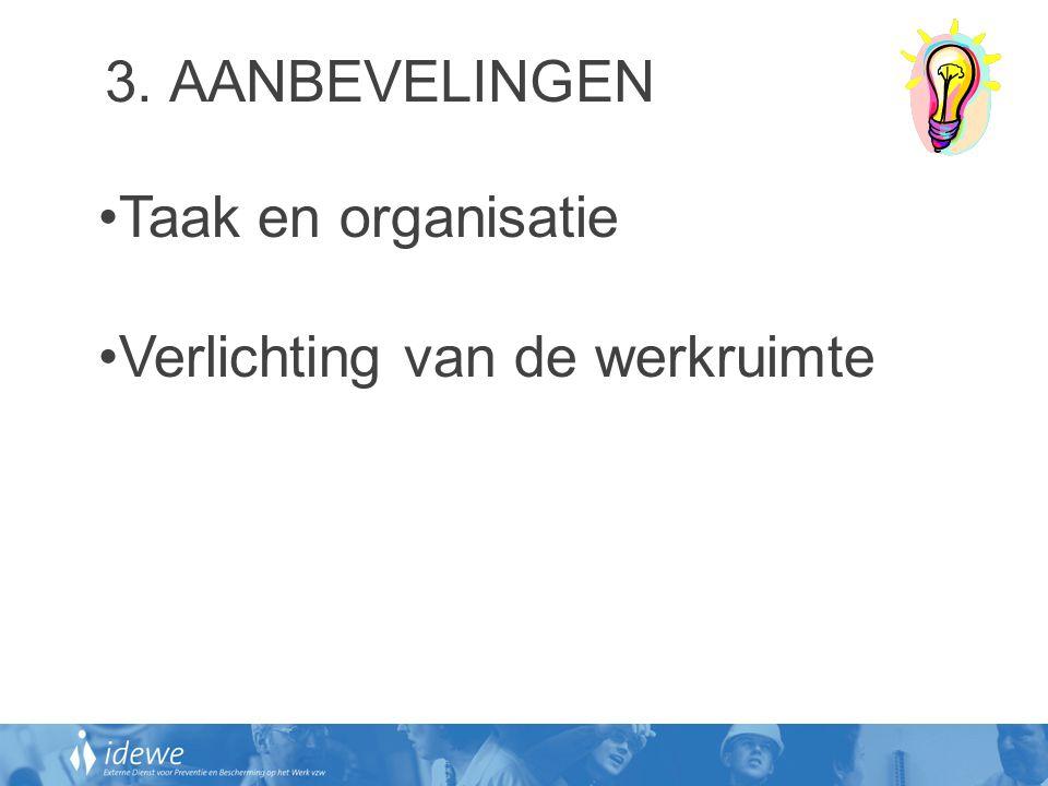 3. AANBEVELINGEN Taak en organisatie Verlichting van de werkruimte