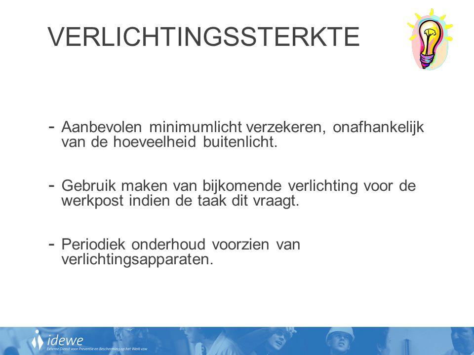 VERLICHTINGSSTERKTE Aanbevolen minimumlicht verzekeren, onafhankelijk van de hoeveelheid buitenlicht.