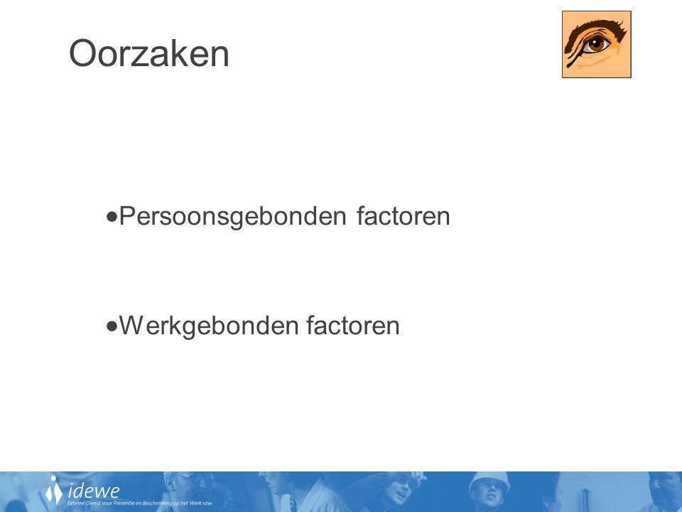 Oorzaken Persoonsgebonden factoren Werkgebonden factoren