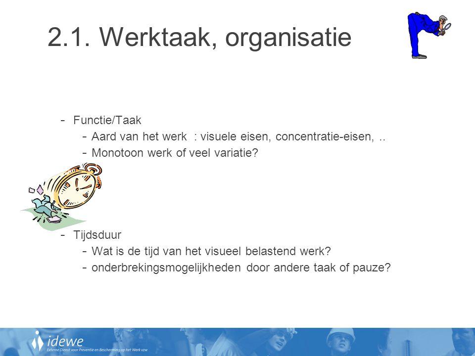 2.1. Werktaak, organisatie Functie/Taak