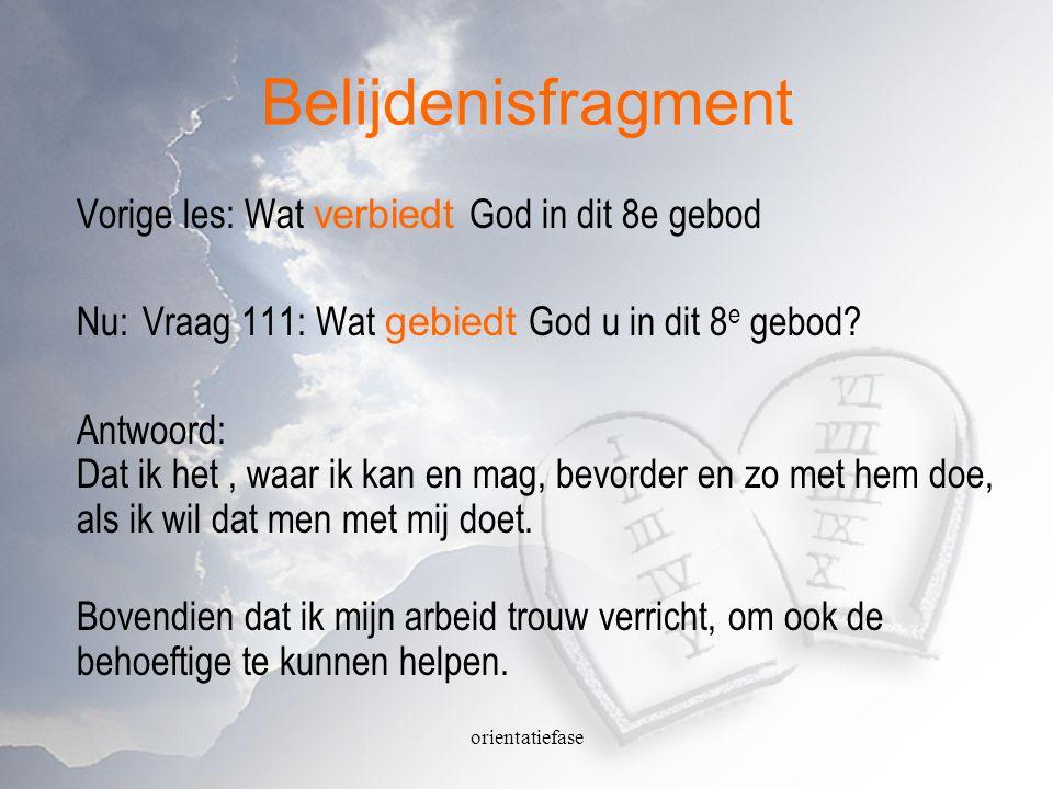 Belijdenisfragment Vorige les: Wat verbiedt God in dit 8e gebod