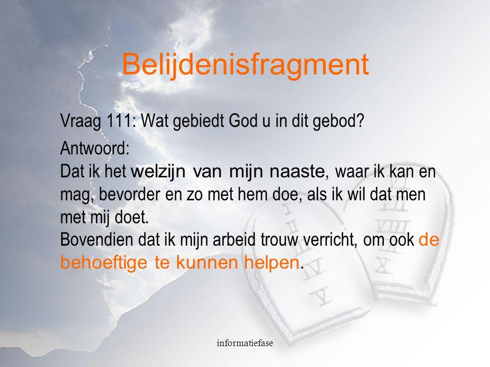 Belijdenisfragment Vraag 111: Wat gebiedt God u in dit gebod