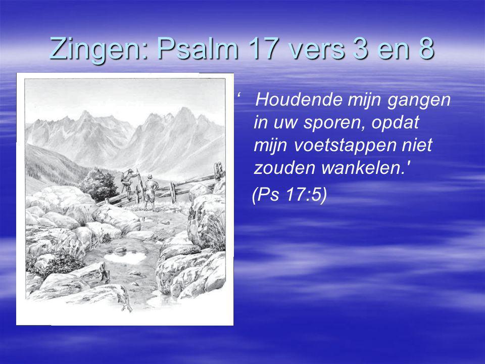 Zingen: Psalm 17 vers 3 en 8 ' Houdende mijn gangen in uw sporen, opdat mijn voetstappen niet zouden wankelen. (Ps 17:5)