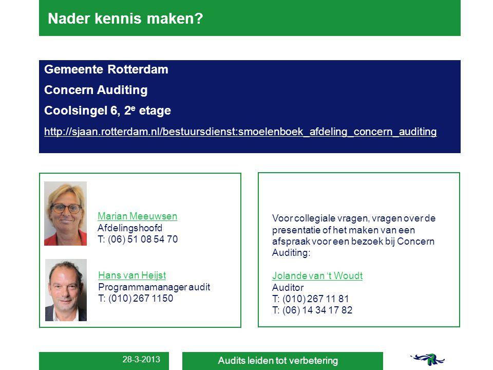 Nader kennis maken Gemeente Rotterdam Concern Auditing