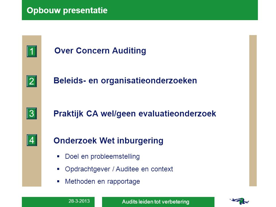 1 2 3 4 Opbouw presentatie Over Concern Auditing