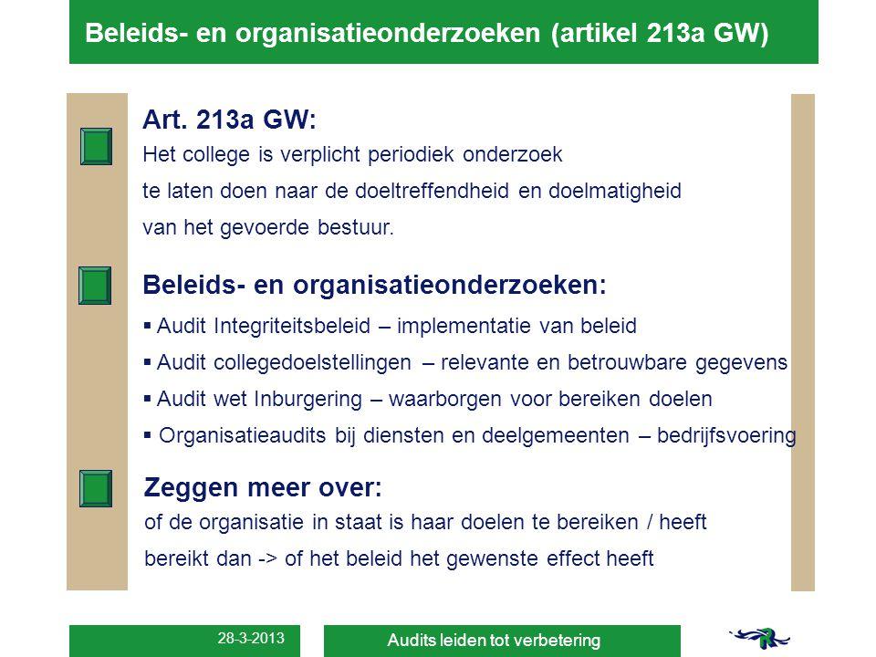 Beleids- en organisatieonderzoeken (artikel 213a GW)