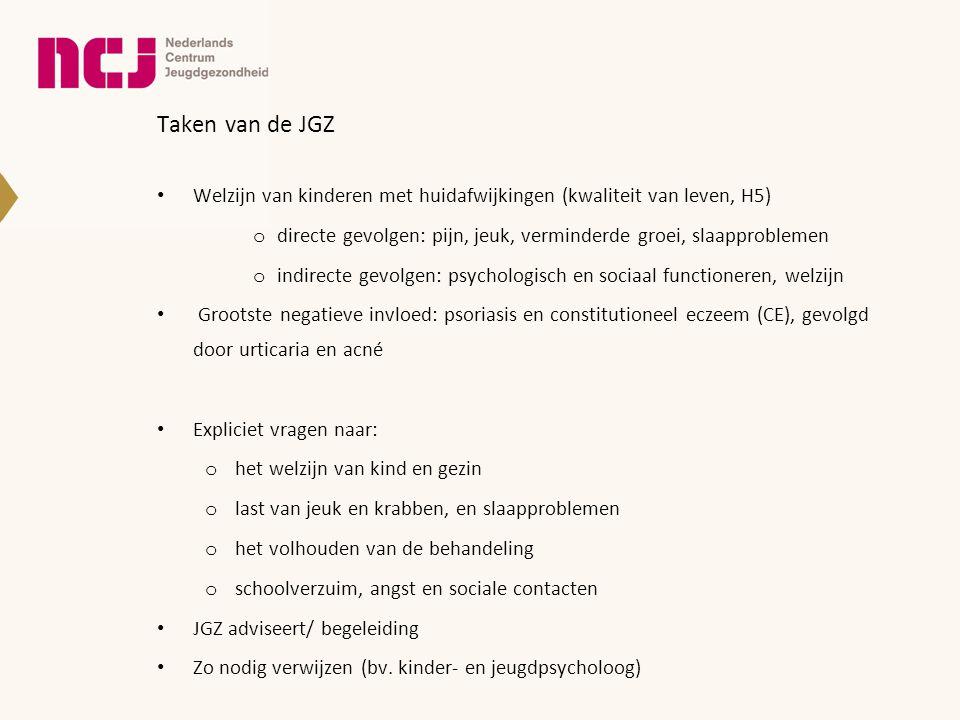 Taken van de JGZ Welzijn van kinderen met huidafwijkingen (kwaliteit van leven, H5) directe gevolgen: pijn, jeuk, verminderde groei, slaapproblemen.