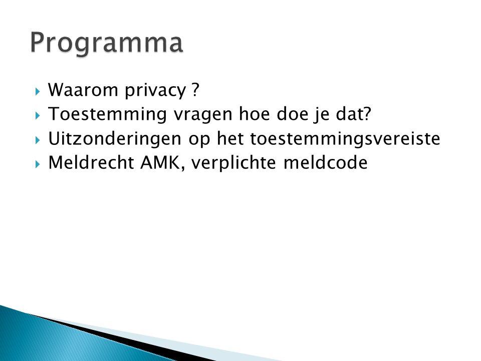 Programma Waarom privacy Toestemming vragen hoe doe je dat