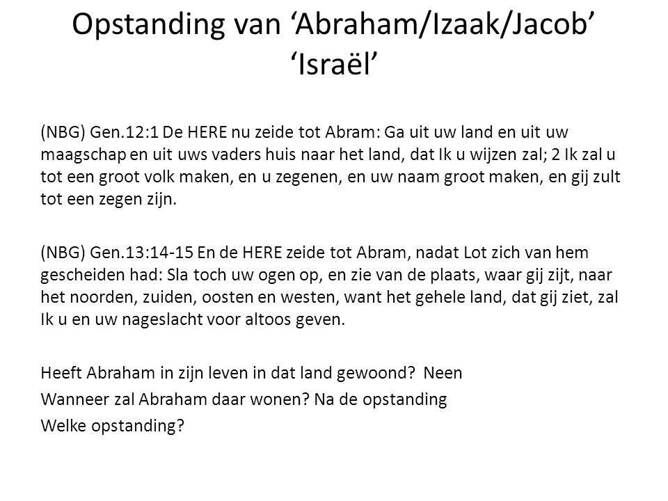 Opstanding van 'Abraham/Izaak/Jacob' 'Israël'