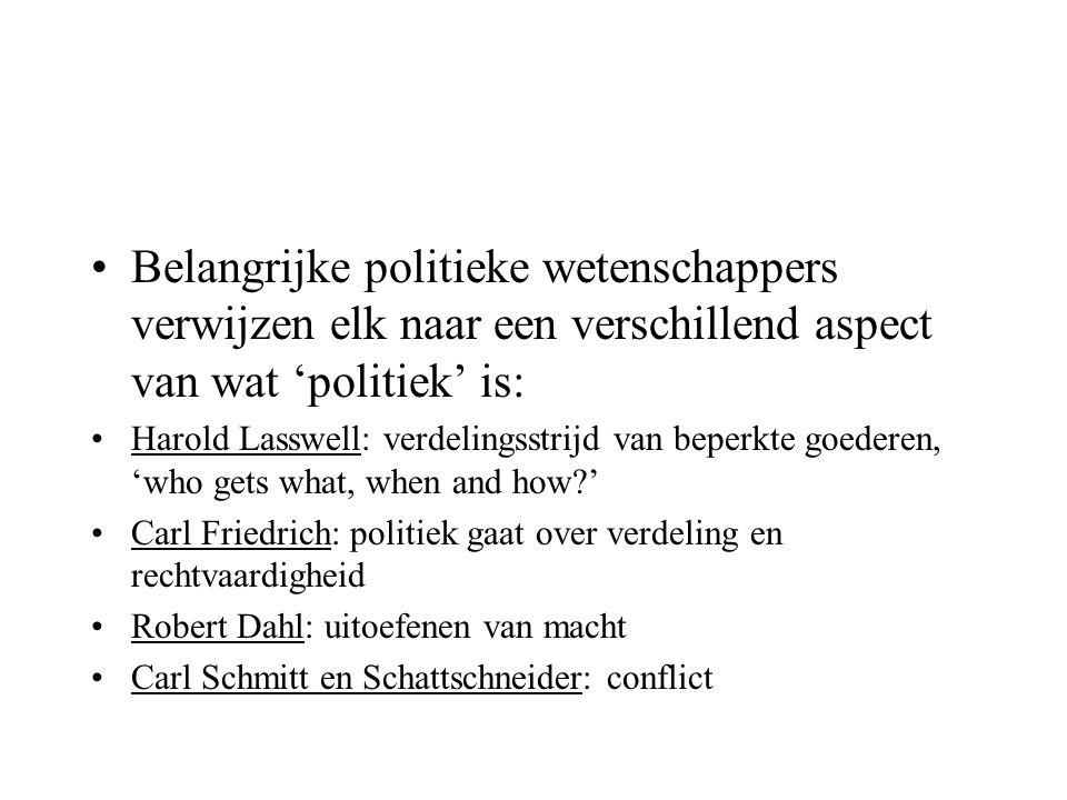 Belangrijke politieke wetenschappers verwijzen elk naar een verschillend aspect van wat 'politiek' is: