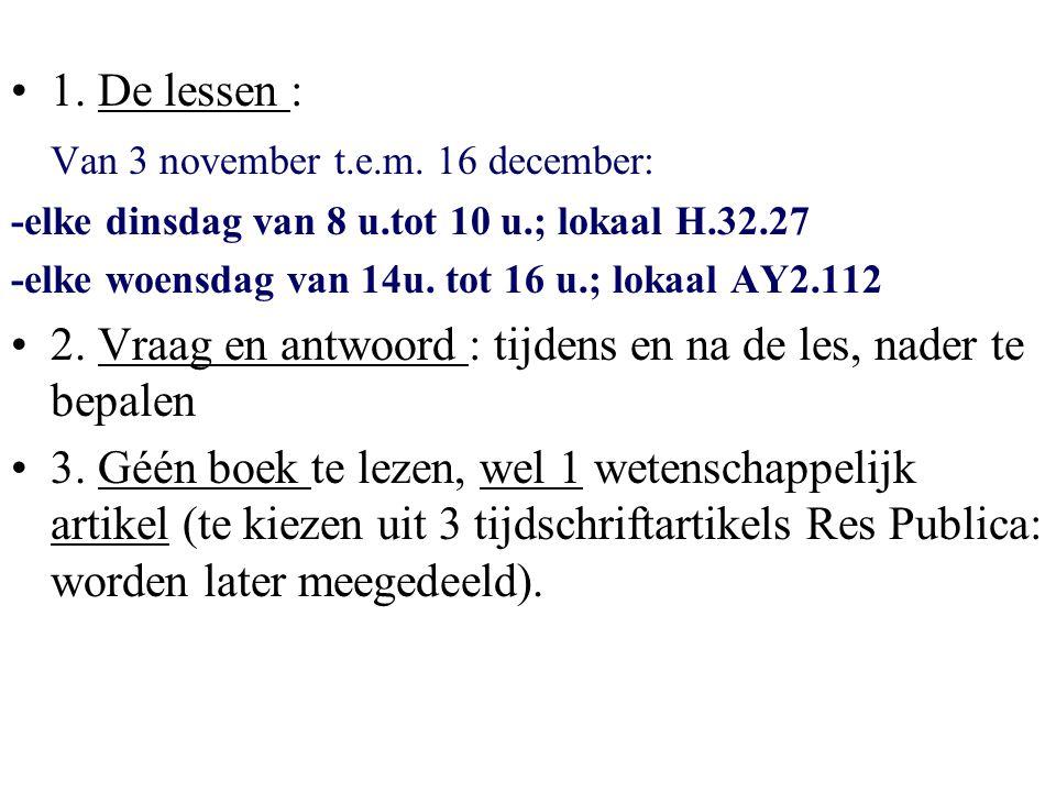 Van 3 november t.e.m. 16 december: