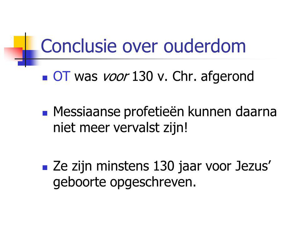 Conclusie over ouderdom