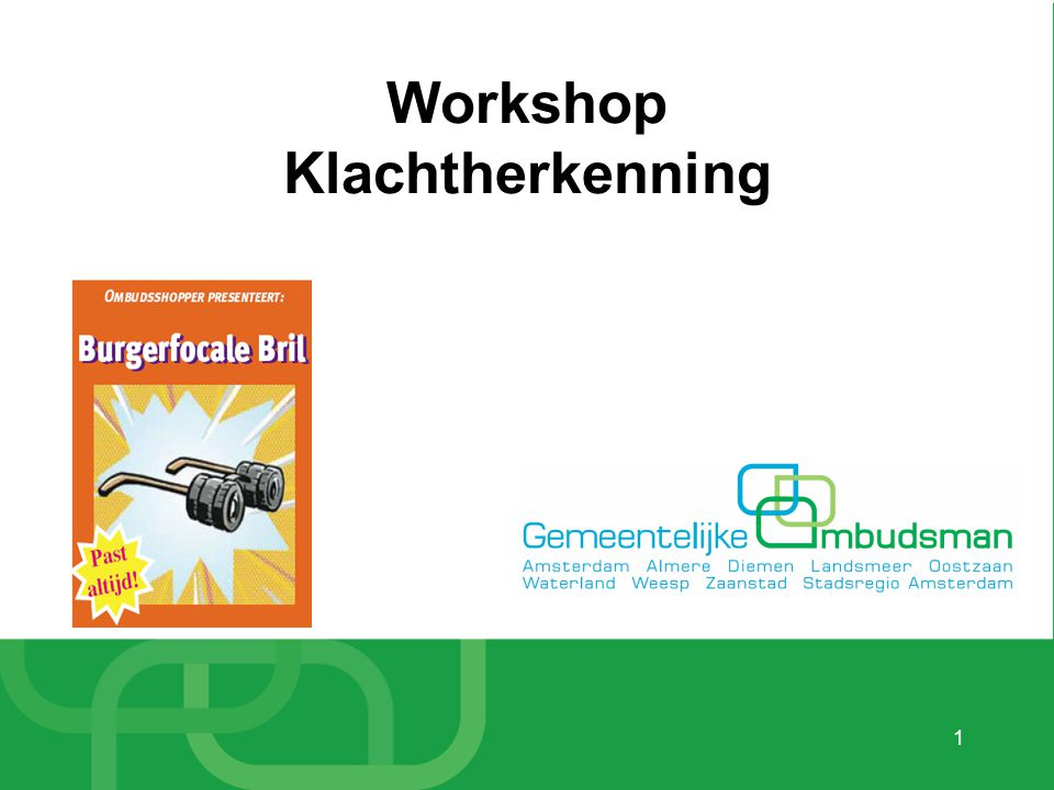Workshop Klachtherkenning