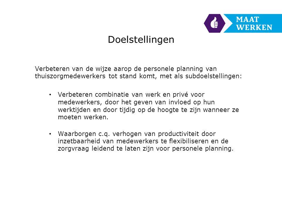Doelstellingen Verbeteren van de wijze aarop de personele planning van thuiszorgmedewerkers tot stand komt, met als subdoelstellingen: