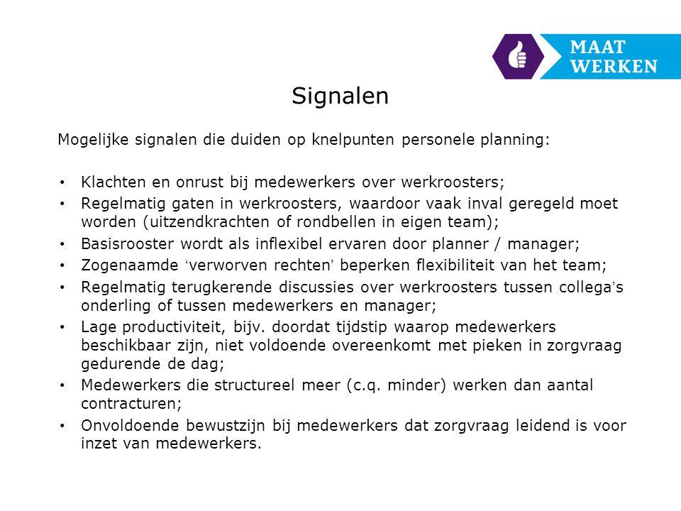 Signalen Mogelijke signalen die duiden op knelpunten personele planning: Klachten en onrust bij medewerkers over werkroosters;