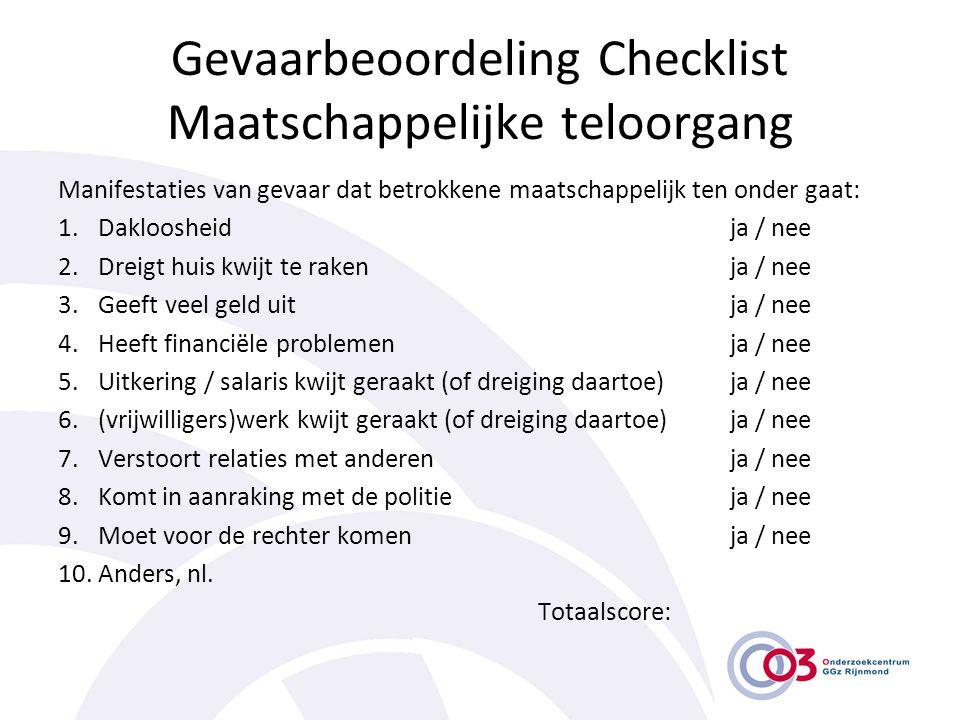 Gevaarbeoordeling Checklist Maatschappelijke teloorgang