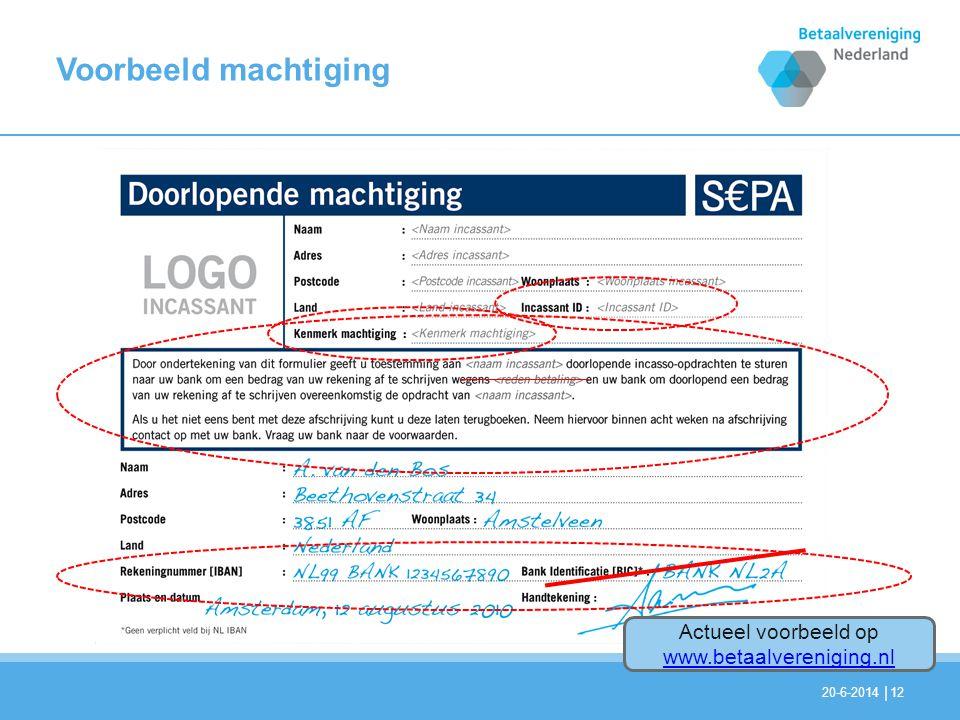 Actueel voorbeeld op www.betaalvereniging.nl