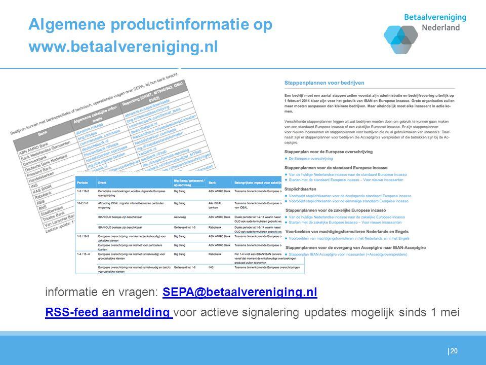 Algemene productinformatie op www.betaalvereniging.nl