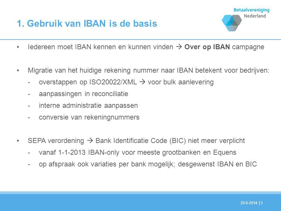 1. Gebruik van IBAN is de basis