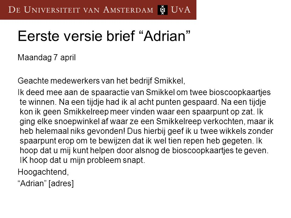 Eerste versie brief Adrian
