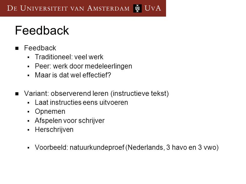 Feedback Feedback Variant: observerend leren (instructieve tekst)