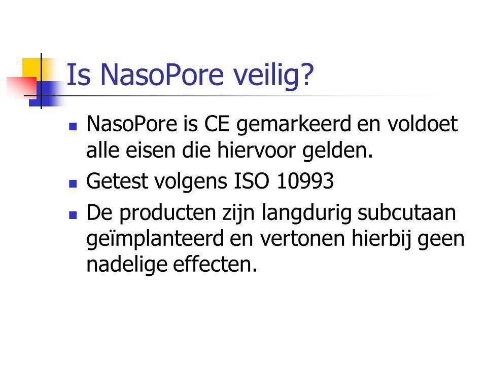 Is NasoPore veilig NasoPore is CE gemarkeerd en voldoet alle eisen die hiervoor gelden. Getest volgens ISO 10993.