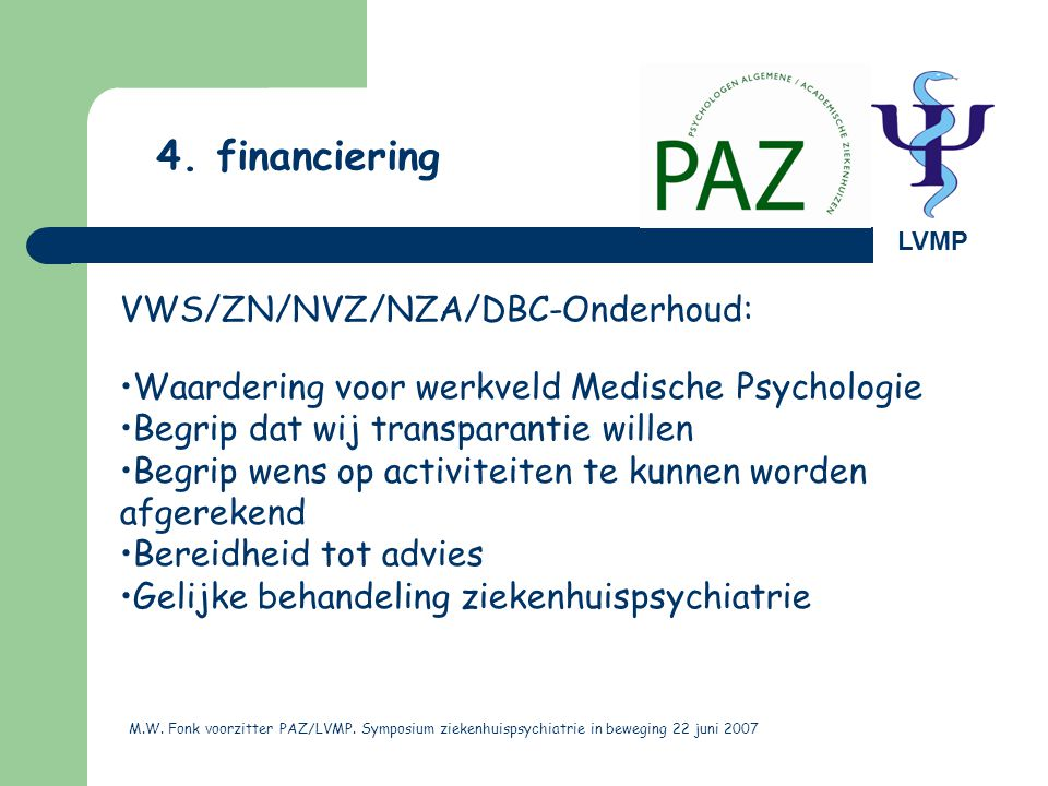 4. financiering VWS/ZN/NVZ/NZA/DBC-Onderhoud: