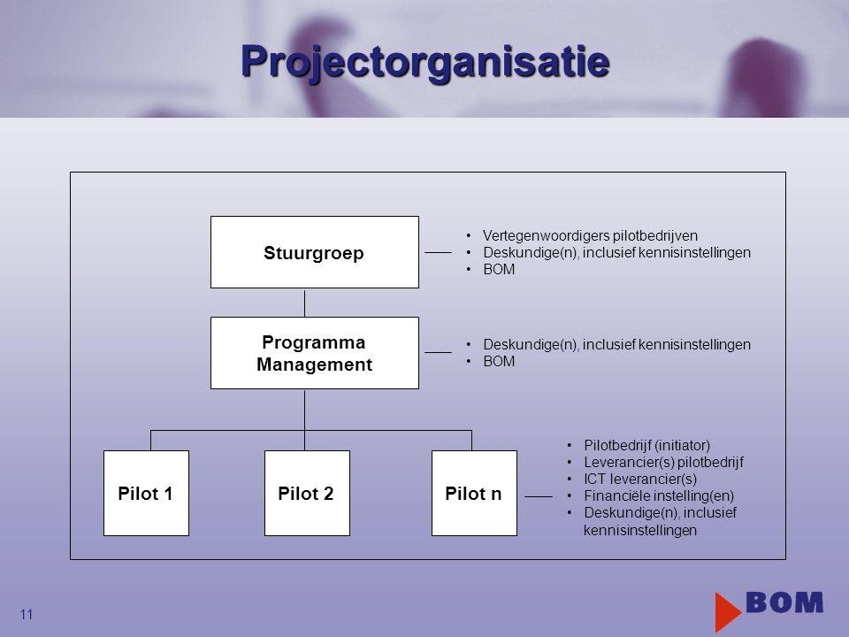 Projectorganisatie Stuurgroep Programma Management Pilot 1 Pilot 2