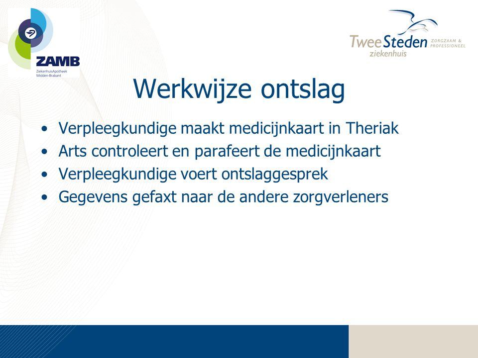 Werkwijze ontslag Verpleegkundige maakt medicijnkaart in Theriak