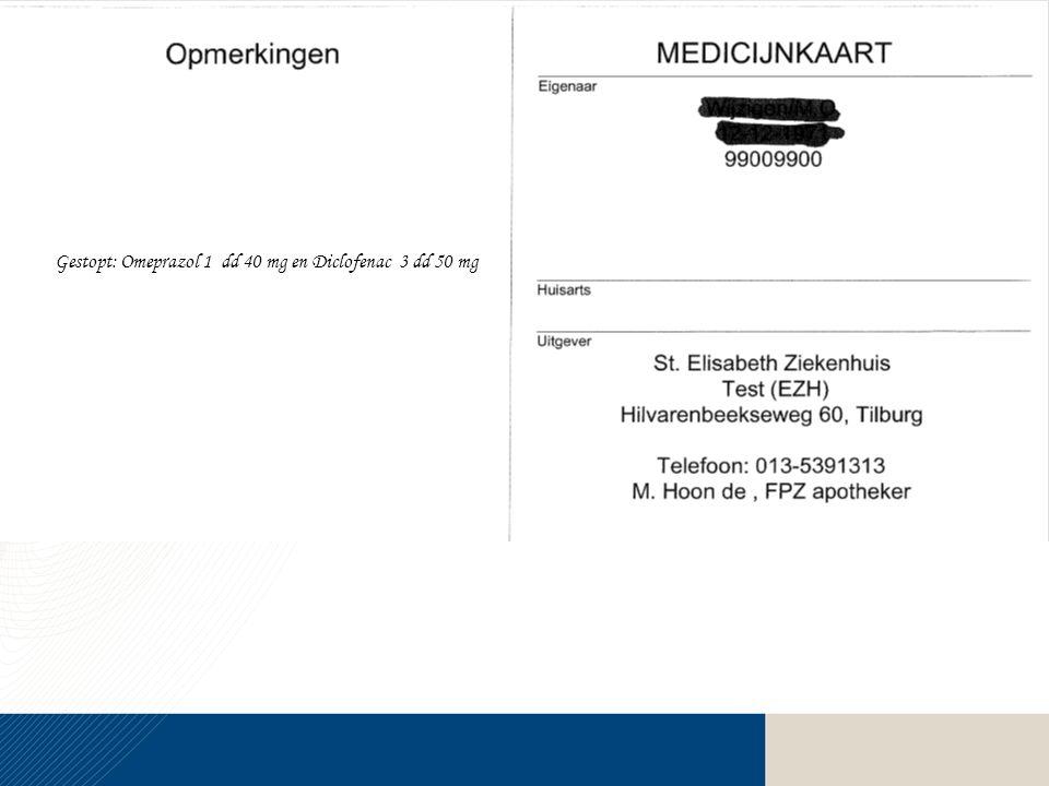 Gestopt: Omeprazol 1 dd 40 mg en Diclofenac 3 dd 50 mg