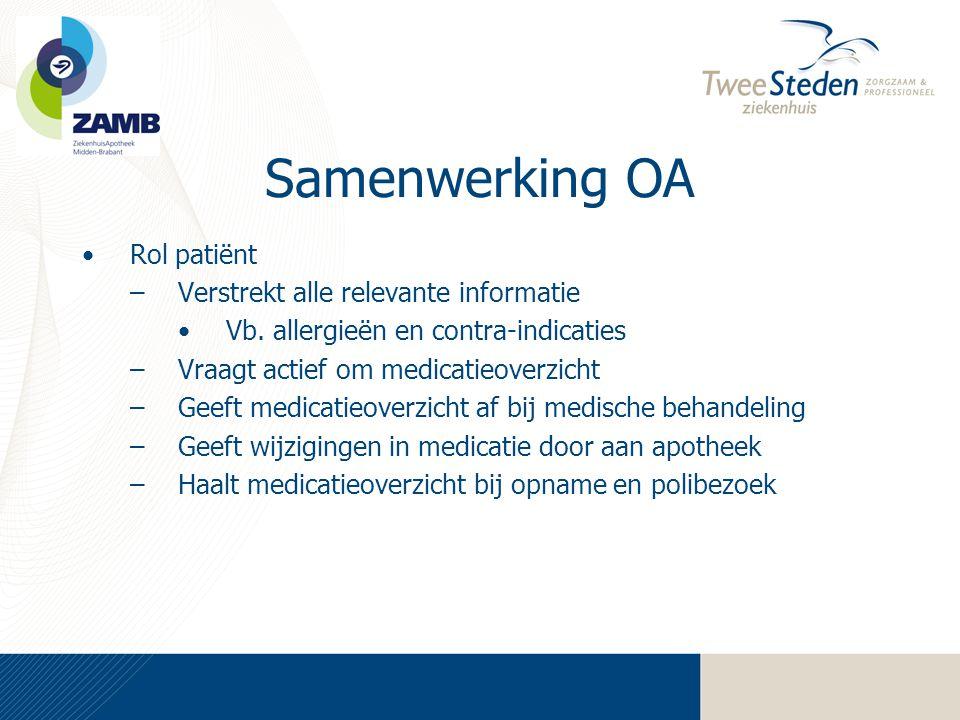 Samenwerking OA Rol patiënt Verstrekt alle relevante informatie