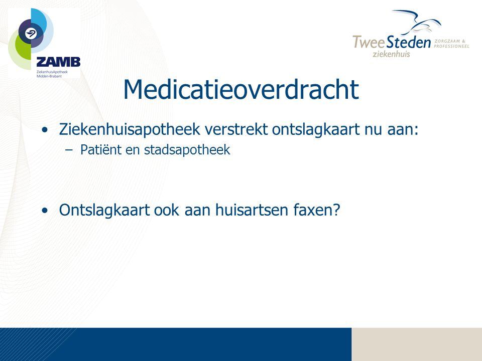 Medicatieoverdracht Ziekenhuisapotheek verstrekt ontslagkaart nu aan: