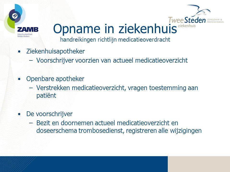 Opname in ziekenhuis handreikingen richtlijn medicatieoverdracht