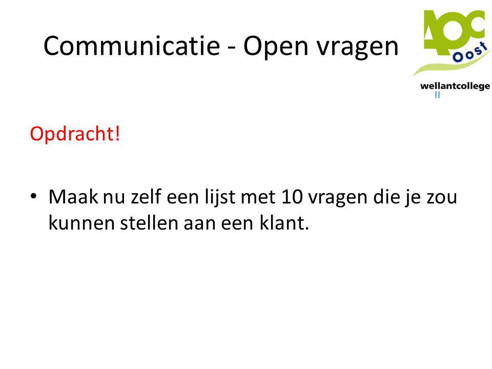 Communicatie - Open vragen