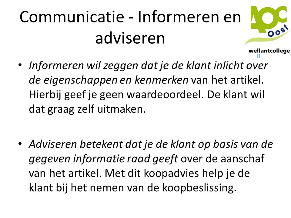 Communicatie - Informeren en adviseren