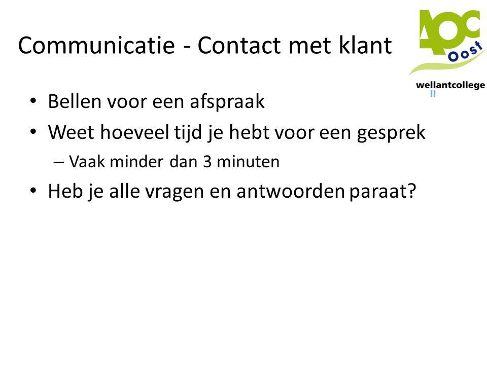 Communicatie - Contact met klant
