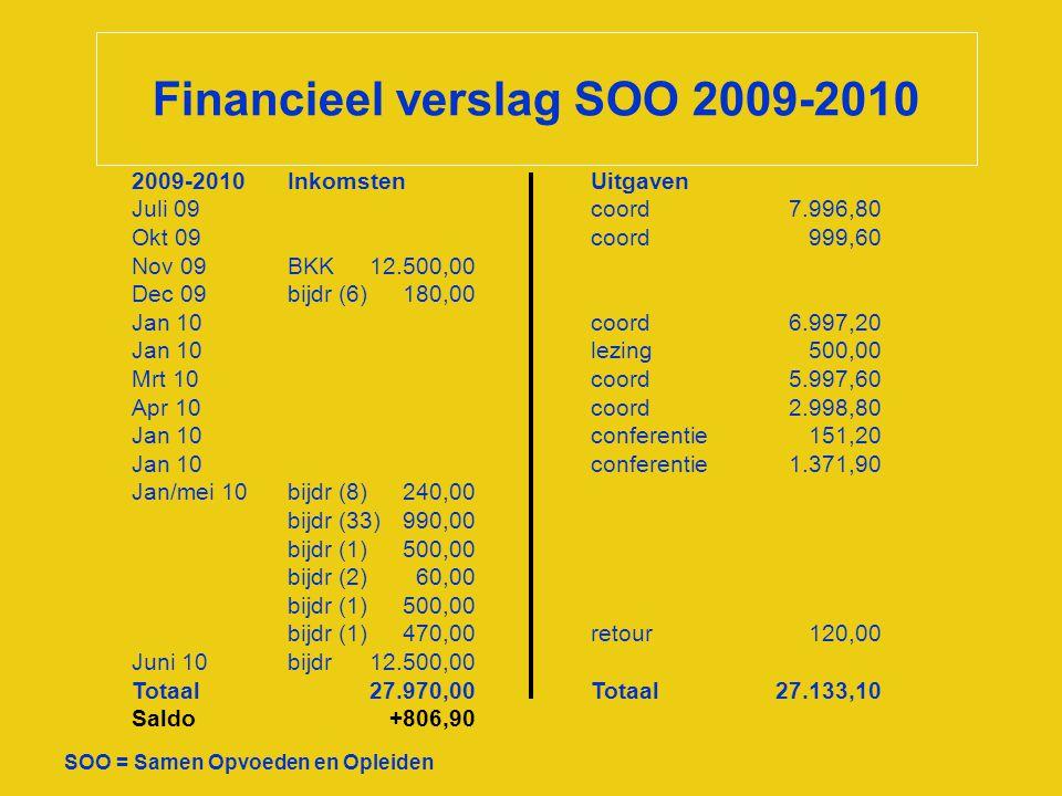 Financieel verslag SOO 2009-2010