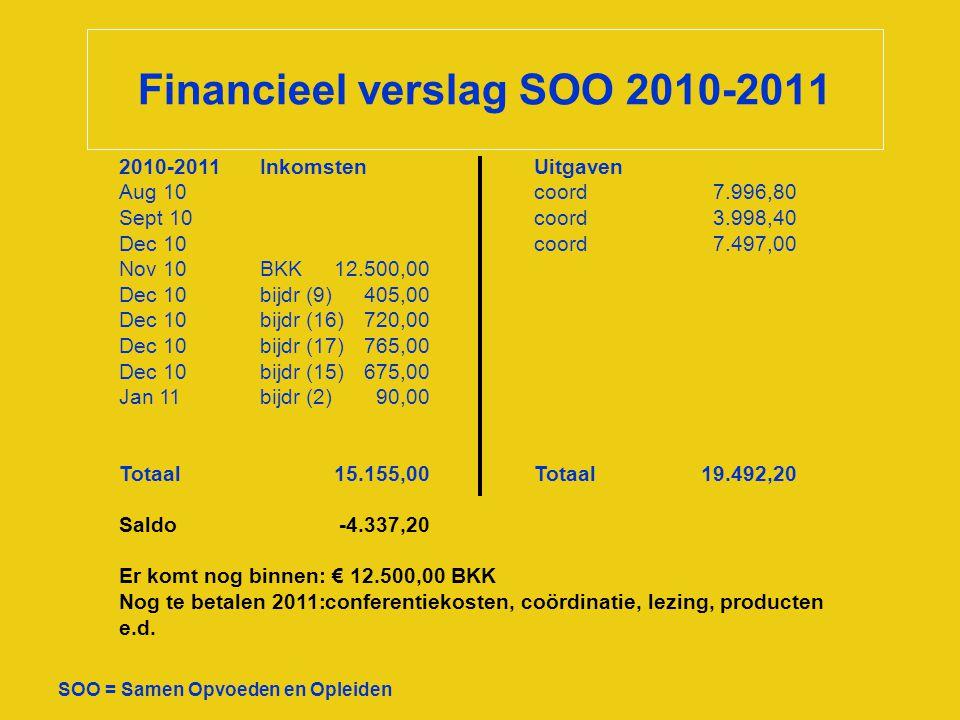 Financieel verslag SOO 2010-2011